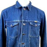 Mens Vintage Rustler Jean Jacket Denim Trucker Coat XL