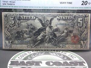 "1896 $5 Silver Certificate ""Education"" FR# 268 ""Tillman/Morgan"" #7648914 ECC&C"