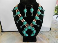SQUASH BLOSSOM NECKLACE SET in turquoise and gold tone  22 inch adj.