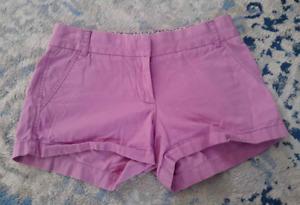 J.Crew Chino Shorts Women's Size 0 Lavender Purple Pockets Zip Fly