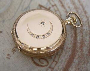Antike Waltham Sprungdeckel massiv 14K Gold + Diamant Taschenuhr pocket watch