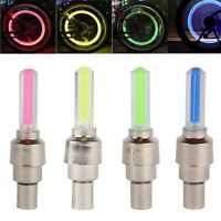 1, 2 or 4 X VALVE DUST CAP TYRE COLOUR LED NEON CAR BIKE WHEEL LIGHTS SAFETY