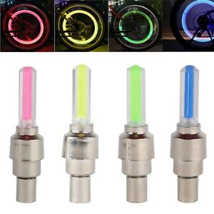 1 or 2 VALVE DUST CAP TYRE COLOUR LED NEON CAR BIKE WHEEL LIGHTS SAFETY UK