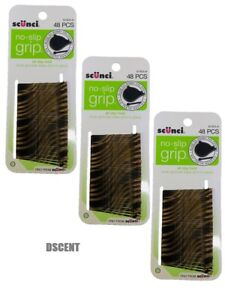 3Pack of 48 Scunci Striped No Slip Grip All Day Hold Hair Bobby Pins With Opener