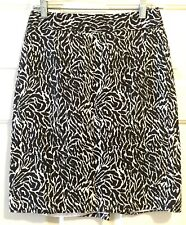 Ann Taylor Loft Brown White Abstract Print Knee Length Pencil Career Skirt 2 XS
