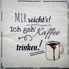 20 Servietten Kaffeezeit 1 Packung OVP Cocktailservietten Schrift Bohnen Kaffee