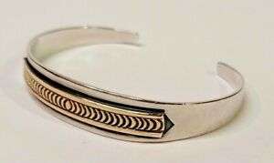 14K Gold & 925 Sterling Silver Bracelet - Signed By Michael Rogers & A.S. (484)