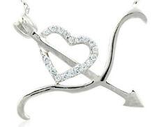 Bogen Pfeil durchs Herz weiße Kristalle Sterling Silber 925 Anhänger mit Kette