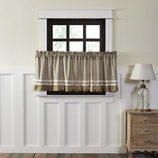 VHC Farmhouse Tier Pair Kendra Stripe Kitchen Curtains Rod Pocket Cotton Burlap