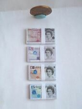 DOLLHOUSE BARBIE MINIATURE STACKS OF MONEY BILLS BRITISH POUNDS GBP 1:6 SCALE
