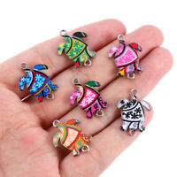 10Pcs Mixed Color Alloy Enamel Sea Turtle Charms Pendants DIY Jewelry Findings