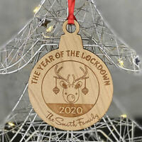 PERSONALISED WOOD LOCKDOWN 2020 FAMILY CHRISTMAS TREE DECORATION BAUBLE GIFT