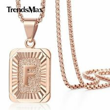 """30"""" Monogram Chain for Unisex Gift Rose Gold Initial Letter F Pendant Necklace"""