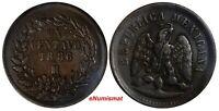 Mexico SECOND REPUBLIC Copper 1886/1 Mo 1 Centavo  SCARCE OVERDATE KM# 391.6
