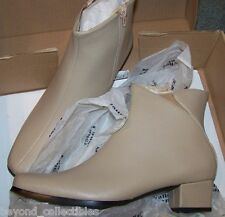 "WOMENS TAUPE LEATHER BOOTS - VALLEY LANE - FLORA - SIZE 9 1/2 MED - 1 1/2"" HEEL"