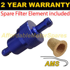 "BLUE 1/4"" & SPARE ELEMENT METAL UNIVERSAL IN LINE FUEL FILTER ANODISED ALUMINIUM"