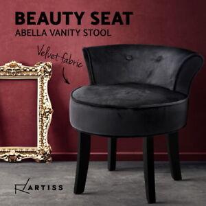 Artiss Velvet Vanity Stool Backrest Stools Dressing Table Chair Makeup Bedroom