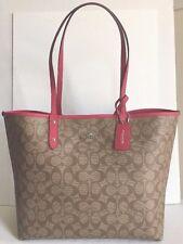 NWT Coach 36658 Reversible City Tote Signature PVC Handbag Khaki / Bright Pink