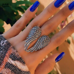 Tocona Punk Wing Joint Ring for Women Vintage Silver Color Big Heart Shape Party