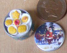 SCALA 1:12 FULL Round Biscuit Tin Casa delle Bambole Accessorio di Natale da cucina Bt29b