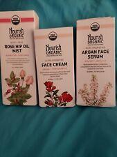 Nourish Organic 3 piece Rosehip oil mist, Recov Face serum, Face cream argon pom