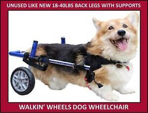 WALKIN' WHEELS DOG WHEELCHAIR BLUE SMALL DOGS 18-40+ LBS BACK LEG HARNESS CORGI