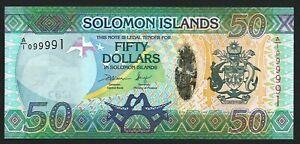 Solomon Islands 50 Dollars P35 2013 UNC s/n A/I 099991 Hybrid note in FOLDER