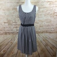 White House Black Market Chevron Black White  A Line Belted Sleeveless Dress 10