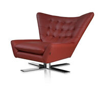 Leather swivel armchair. Matching footstool available. Illustration wine red