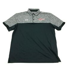 Ua Under Armour Dry Fit Polo Gray Black Shirt Size L Men Short Power House Hoops