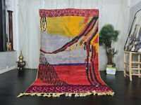 "Boujaad Handmade Moroccan Rug 5'4""x8'9"" Berber Abstract Red Tribal Wool Carpet"
