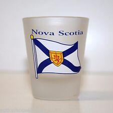 FROSTED Shot Glass NOVA SCOTIA ( Flag Design On Front )