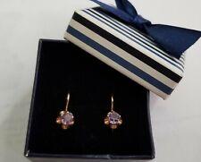 Elegant Russian 14K Rose Gold Color Change Alexandrite Drop Earrings