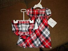 Hartstrings Baby Toddler Red Plaid Christmas 3-6 months 2 piece NWT