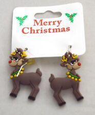 NEW Christmas raindeer drop earrings costume jewellery festive party