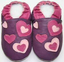 Slippers hearts purple 4-5 toddler soft sole leather girl shoes free shipping