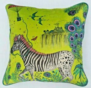 Emma J Shipley LOST WORLD LIME VELVET Cushion Cover 41cm