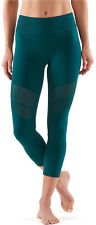 SKINS DNAmic Seamless Womens Compression Tights Green Gym Training Workout Yoga