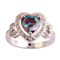 Exquisite Heart Cut Rainbow & White Topaz Gemstone Silver Ring Size 6 7 8 9 10