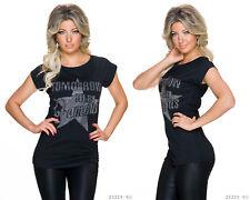 Damen Kurzarm Shirt Longshirt Famous Oberteil Top Bluse Glitzer T-Shirt Strass