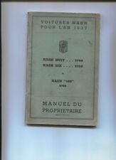 NASH huit ,seis y 400 : manual de propietario en francés 1937