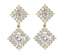 CLIP ON EARRINGS - gold drop earring Cubic Zirconia crystals & stones - Novia G