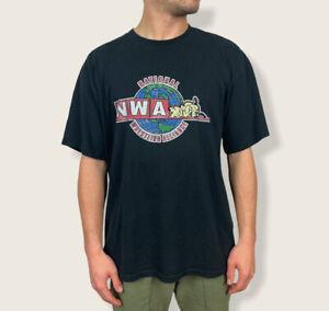 Vintage NWA National Wrestling Alliance T Shirt Size L Sumo Globe Graphic