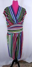 Suzi Chin for Maggy Boutique Sleeveless Dress Size 14 Multicolor Striped Wrap