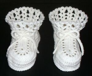ADULT BABY BOOTIES CROCHET ONE SIZE FITS ALL  BABY WHITE HANDMADE