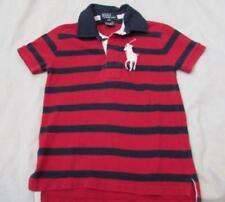 POLO RALPH LAUREN boys 4T red blue big pony s/s pique knit cotton polo shirt