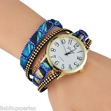 LP Damen Uhr Armbanduhr Dunkelblau Retro Uhr Analoguhr Quarzuhr Wickelarmband