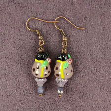 Lavender Ladybug Totem Earrings Ladybird Love Good Luck Crystals Lampwork Beads