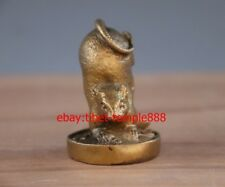 6 CM Chinese Zodiac Brass Copper Mouse Rat Mice Wealth Fengshui Animal Statue