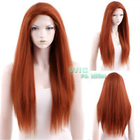 "28"" Long Straight Reddish Orange Yaki Lace Front Wig Heat Resistant"